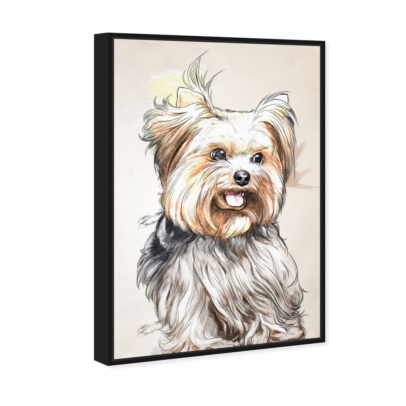 Angled view of Yorkie Watercolor featuring animals and dogs and puppies art.