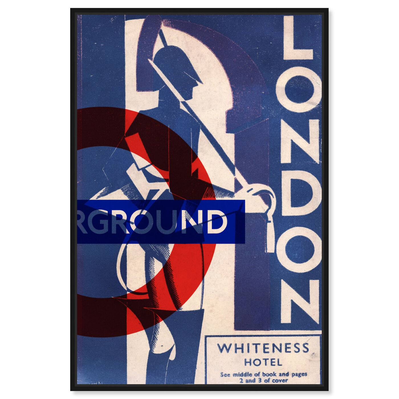 Front view of London Blues featuring advertising and posters art.