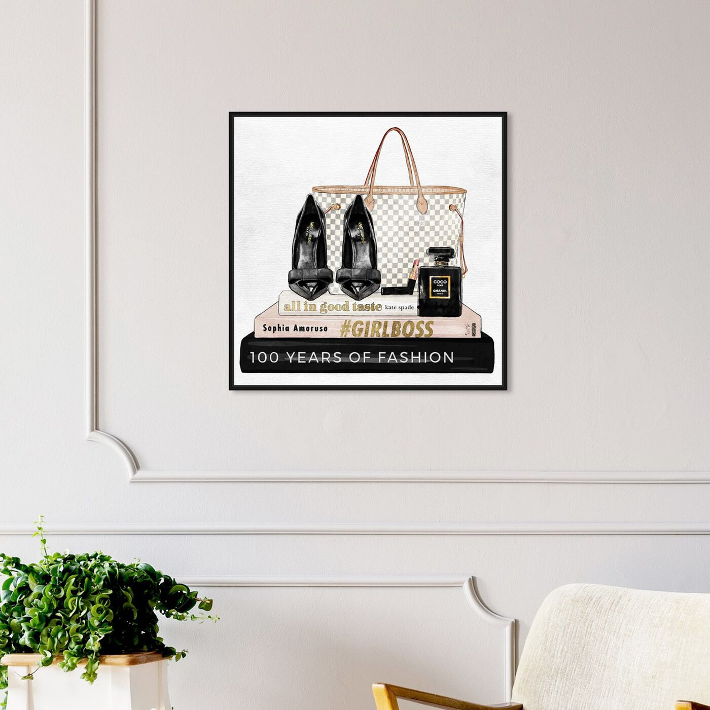 Hanging view of Going Out Books featuring fashion and glam and shoes art.