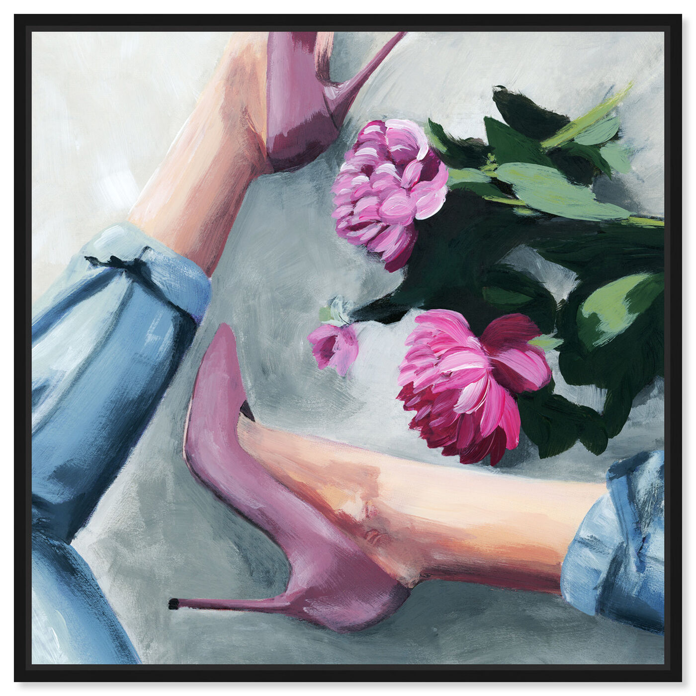 Front view of Jeans and Heels featuring fashion and glam and shoes art.