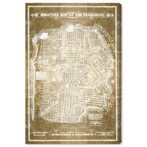 San Francisco Map White and Gold