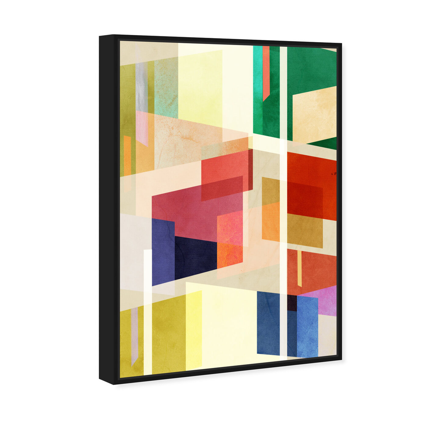 Angled view of Midcentury Square Abstract featuring abstract and geometric art.