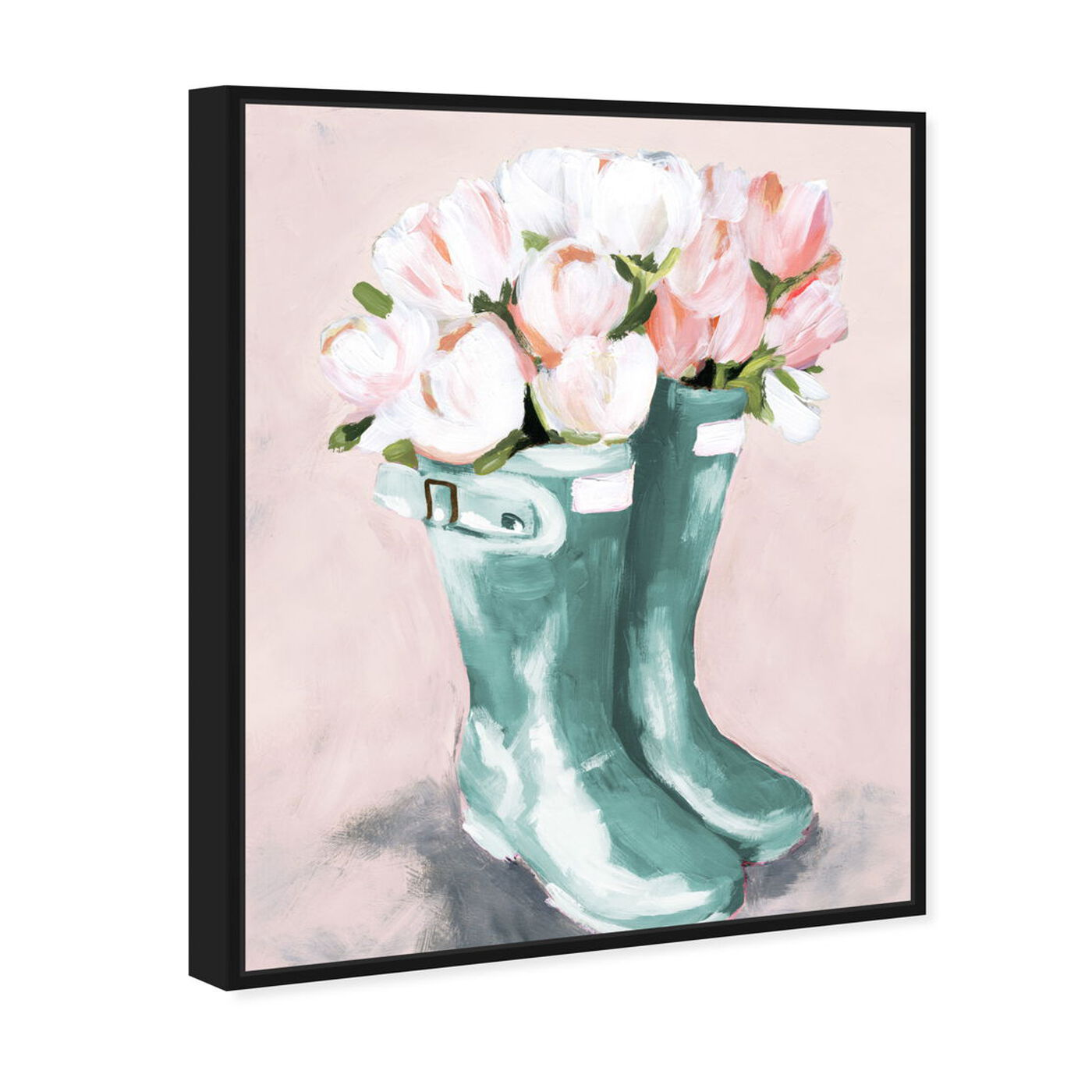 Angled view of Pastel Rainboots and Flowers featuring fashion and glam and shoes art.
