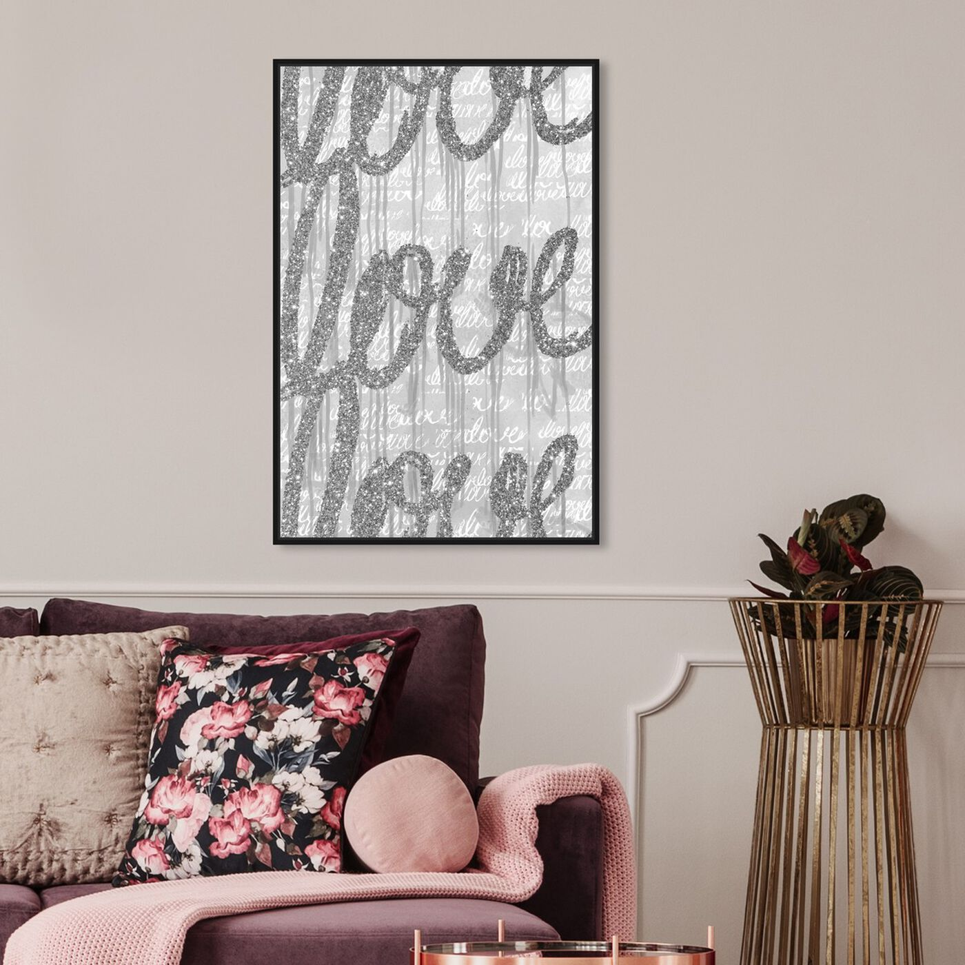 Hanging view of Round and Round Tall Silver Love featuring typography and quotes and love quotes and sayings art.