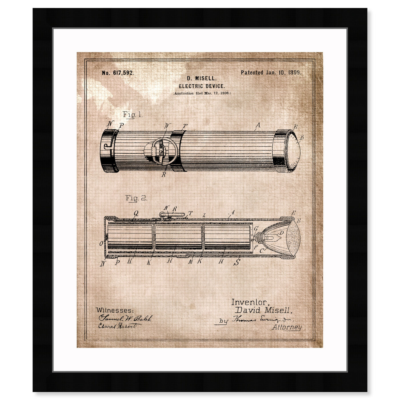Front view of Flashlight 1899 II featuring symbols and objects and shapes art.