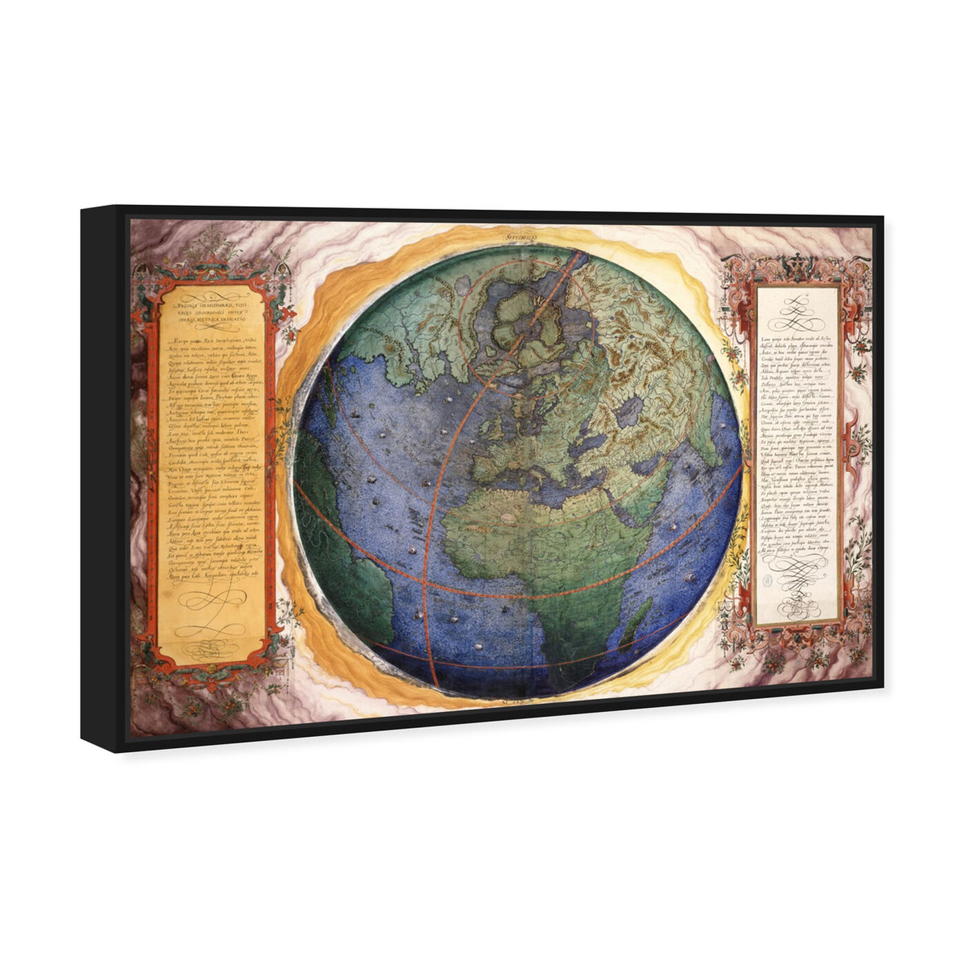 Angled view of Prioris Hemisphaerii featuring maps and flags and world maps art.