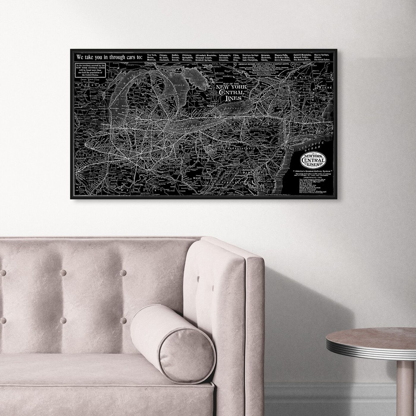 Hanging view of New York Central Lines Map 1918 featuring cities and skylines and united states cities art.