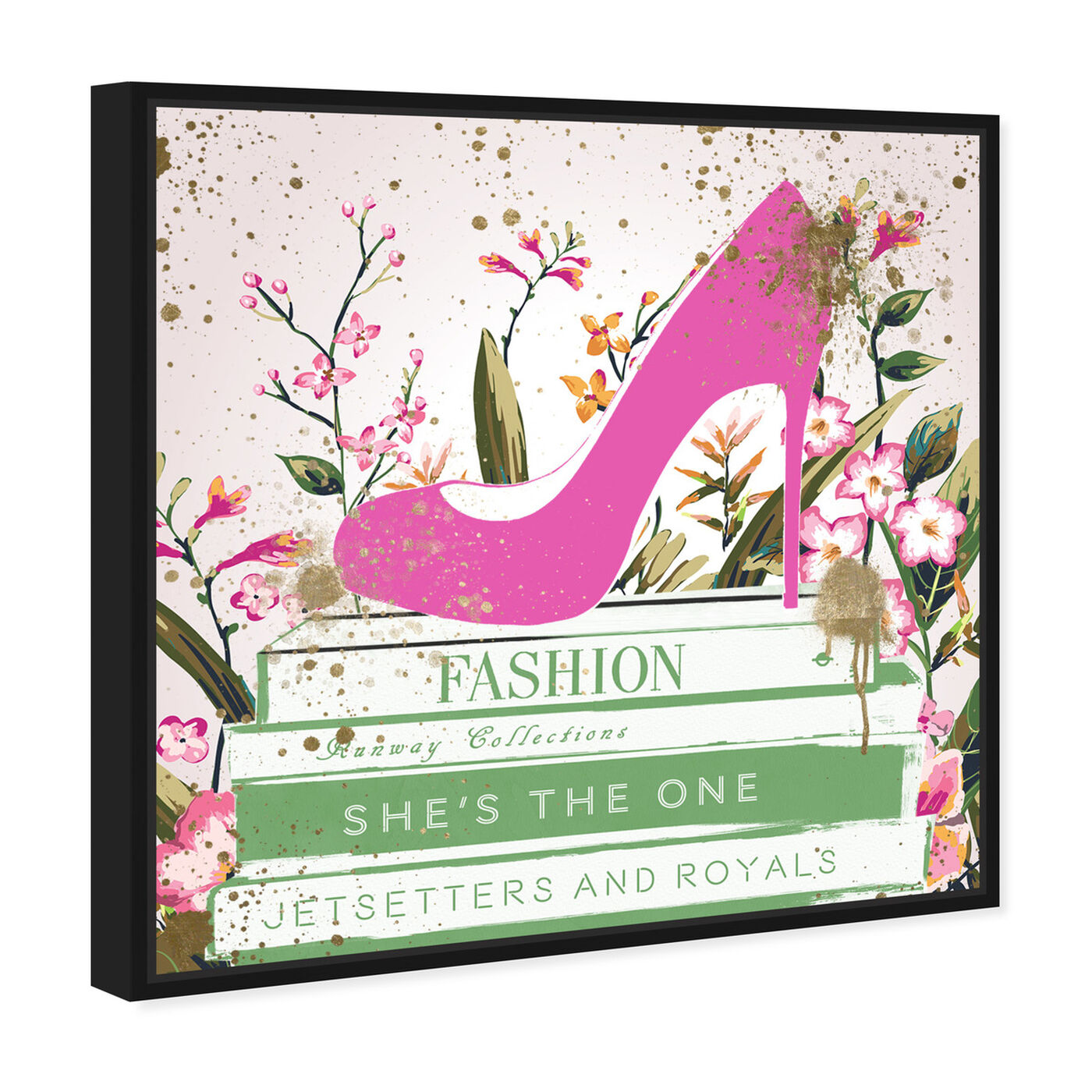 Angled view of Shoes and Books Spring featuring fashion and glam and shoes art.