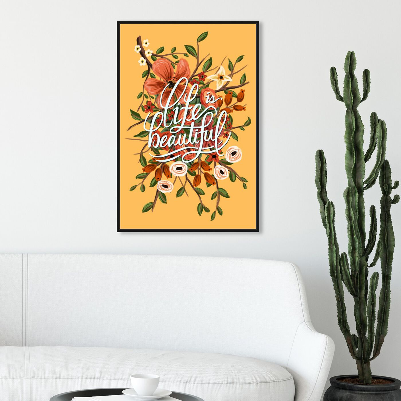 Hanging view of Yellow Beautiful featuring typography and quotes and inspirational quotes and sayings art.