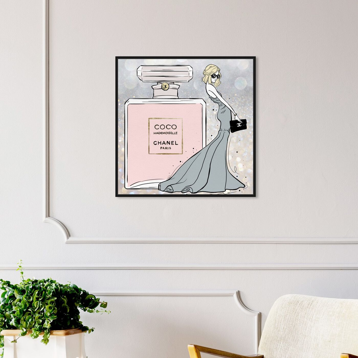Hanging view of Parisian Queen Grey featuring fashion and glam and perfumes art.