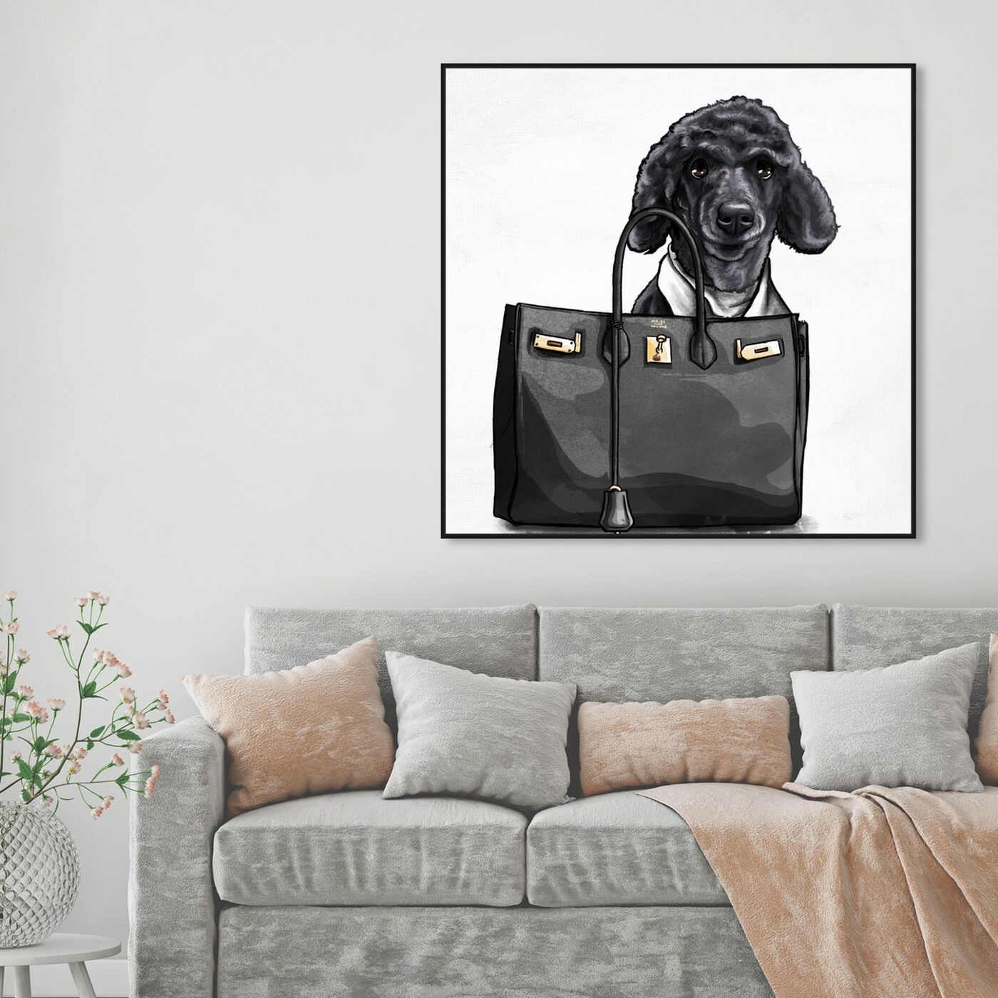 Hanging view of Handbag Bestie Custom featuring fashion and glam and handbags art.