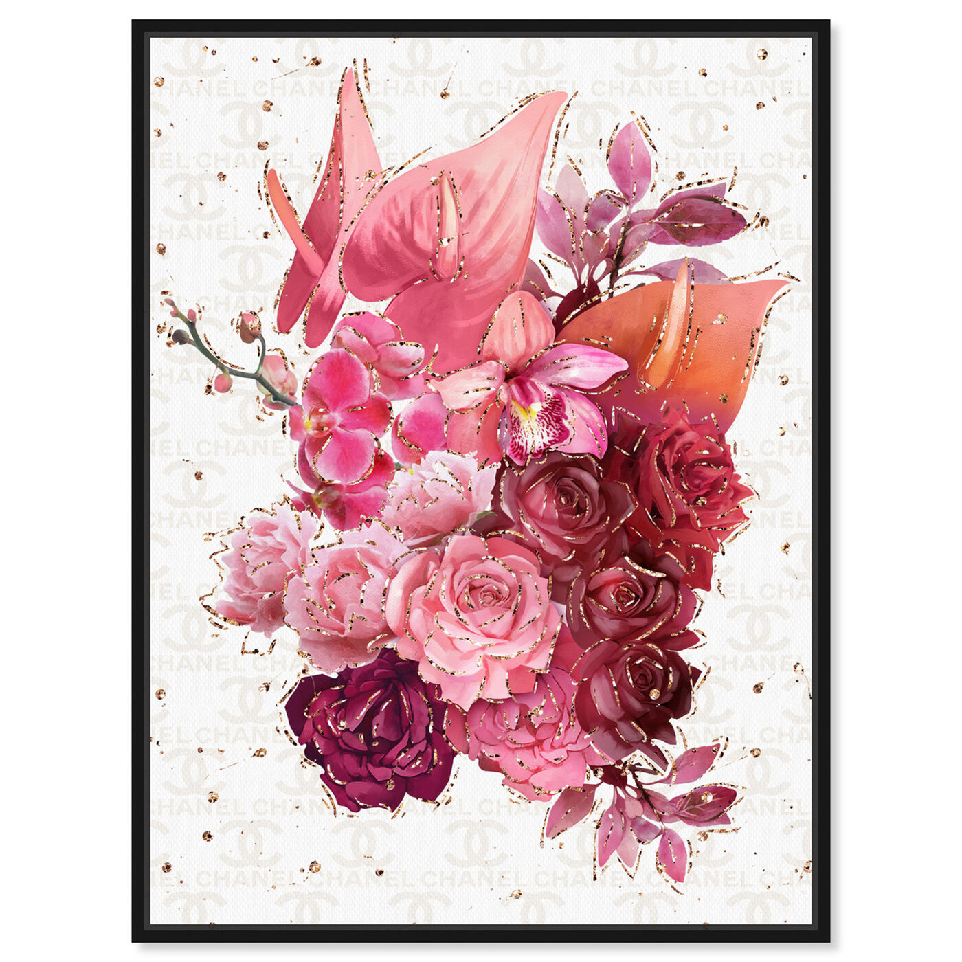 Front view of Coco Pink Flowers featuring floral and botanical and florals art.