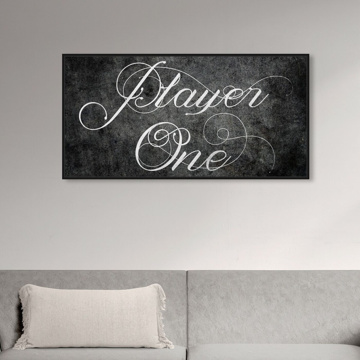 Hanging view of Player One featuring typography and quotes and quotes and sayings art.
