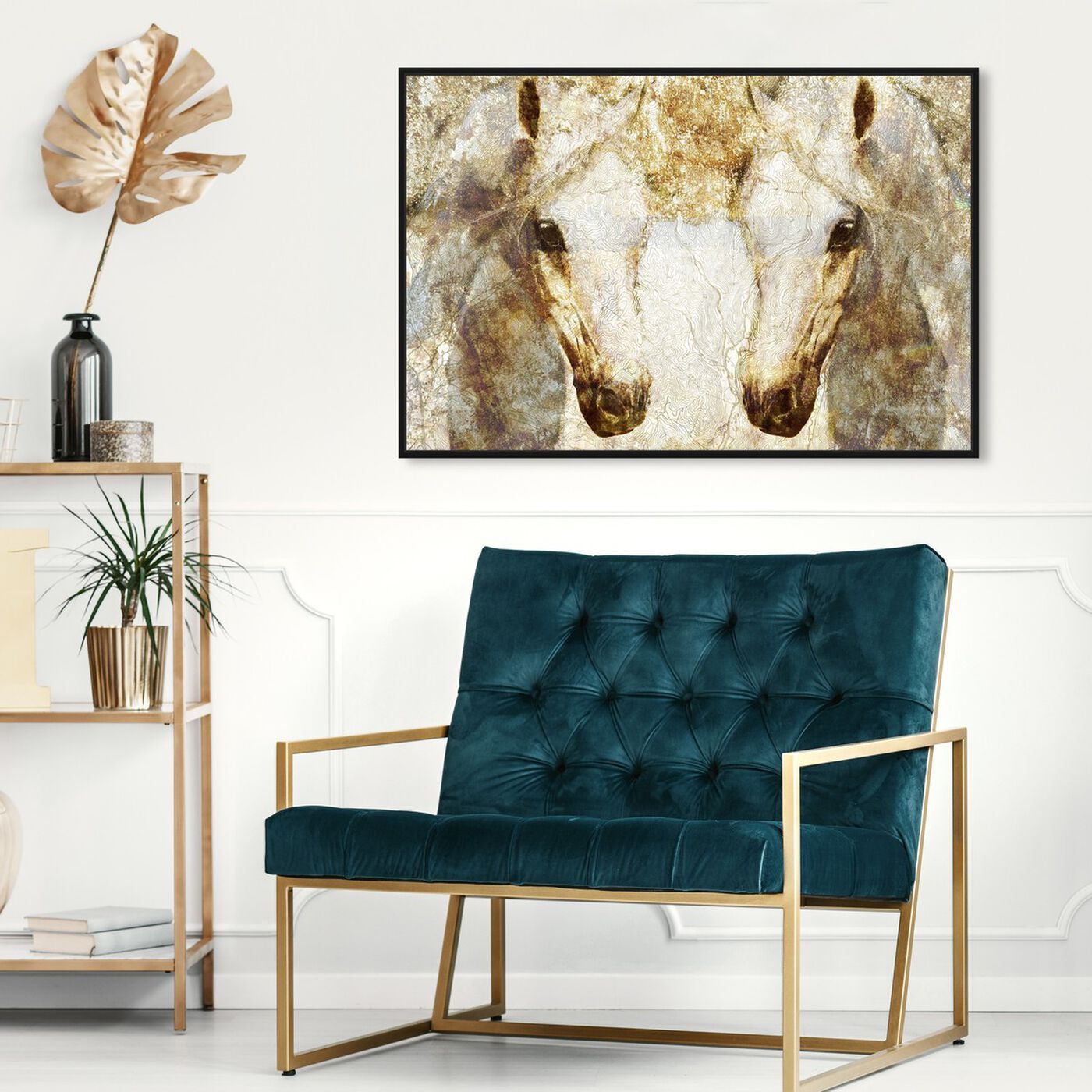 Hanging view of Gold Stallions featuring animals and farm animals art.