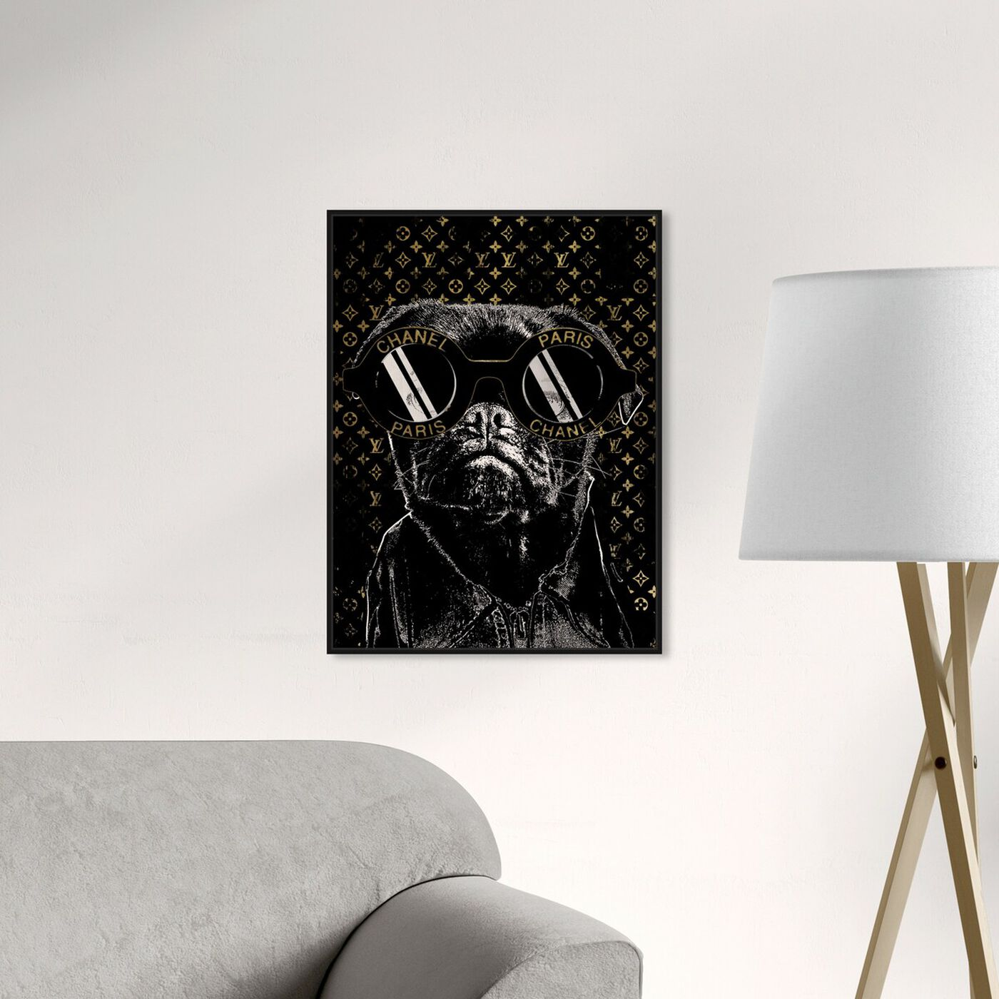 Hanging view of Fashion Noir Frenchie featuring fashion and glam and accessories art.