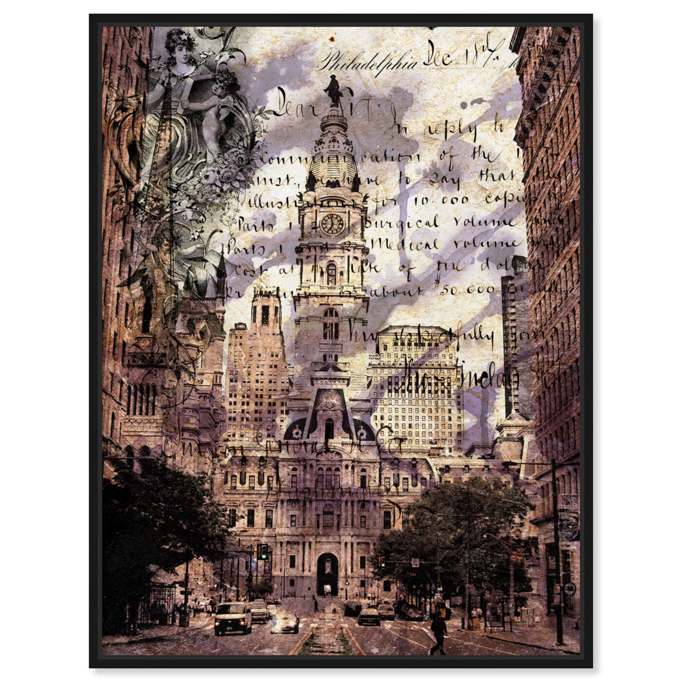 Front view of Philadelphia Town Hall featuring cities and skylines and united states cities art.
