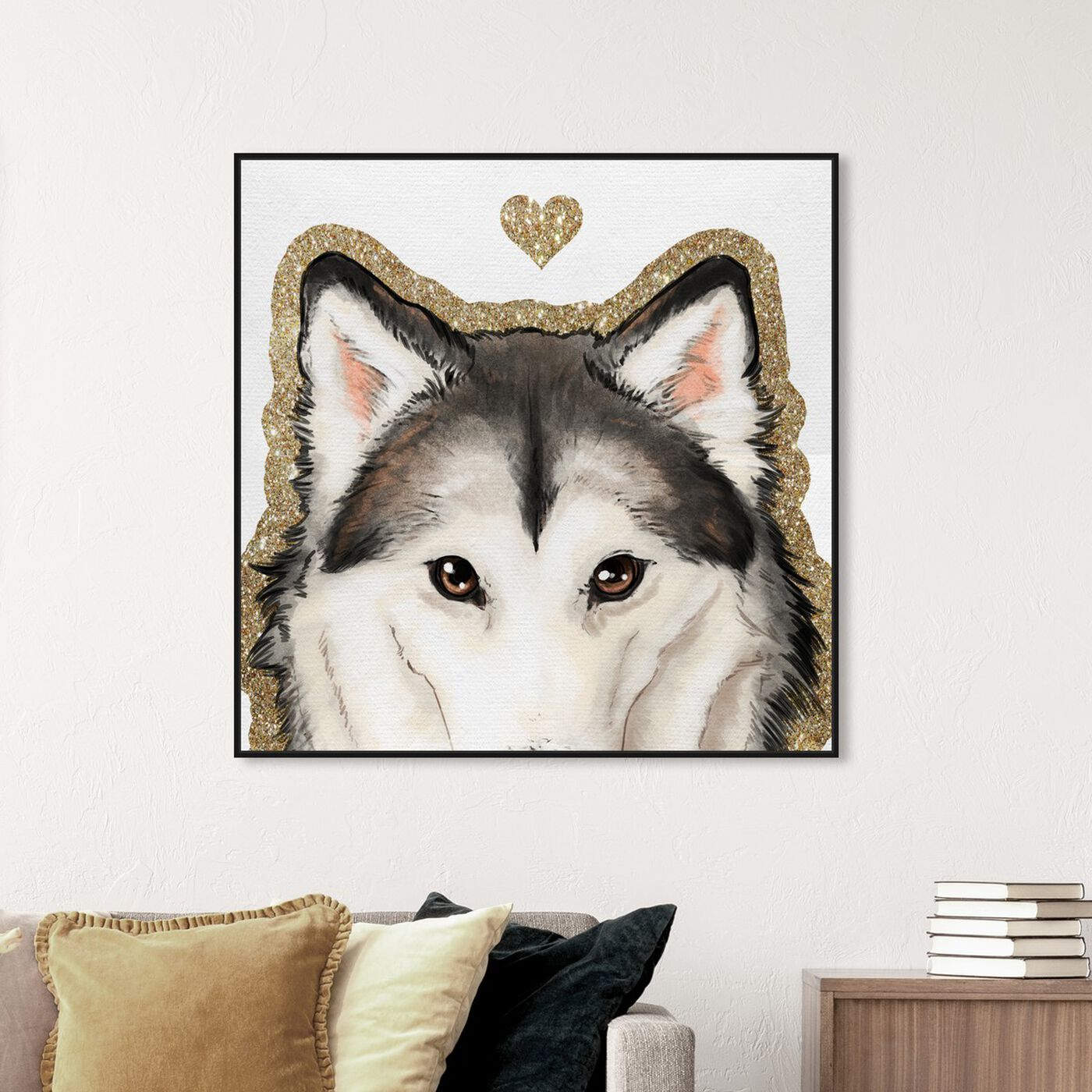 Hanging view of Husky Eyes featuring fashion and glam and hearts art.