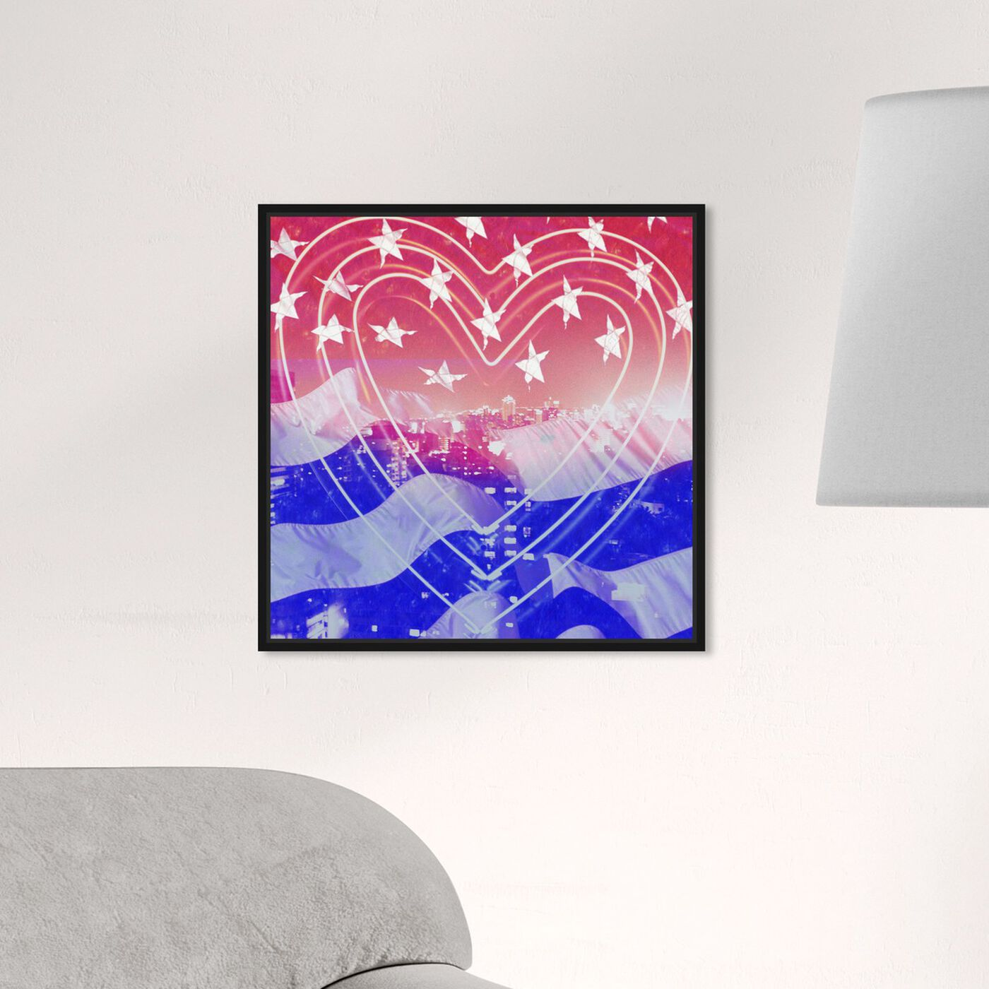Hanging view of American Neon Heart featuring americana and patriotic and us flags art.