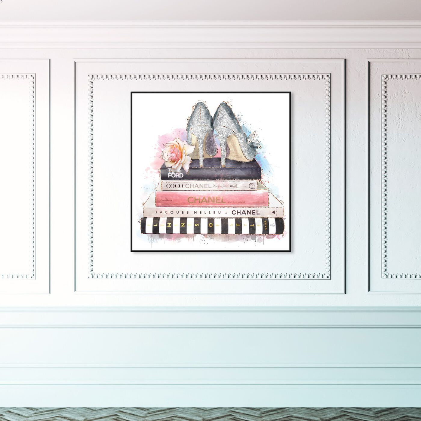 Hanging view of Silver Blush Girlboss featuring fashion and glam and books art.