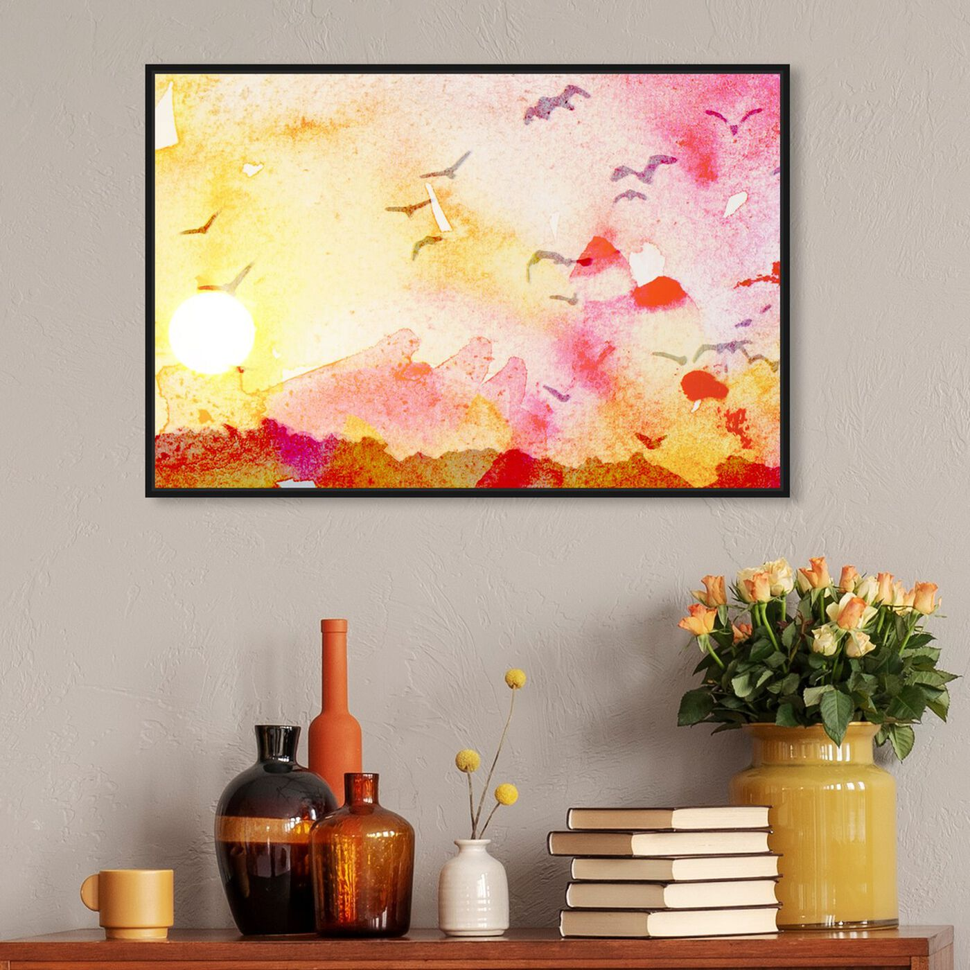 Hanging view of Estepa De California featuring abstract and watercolor art.