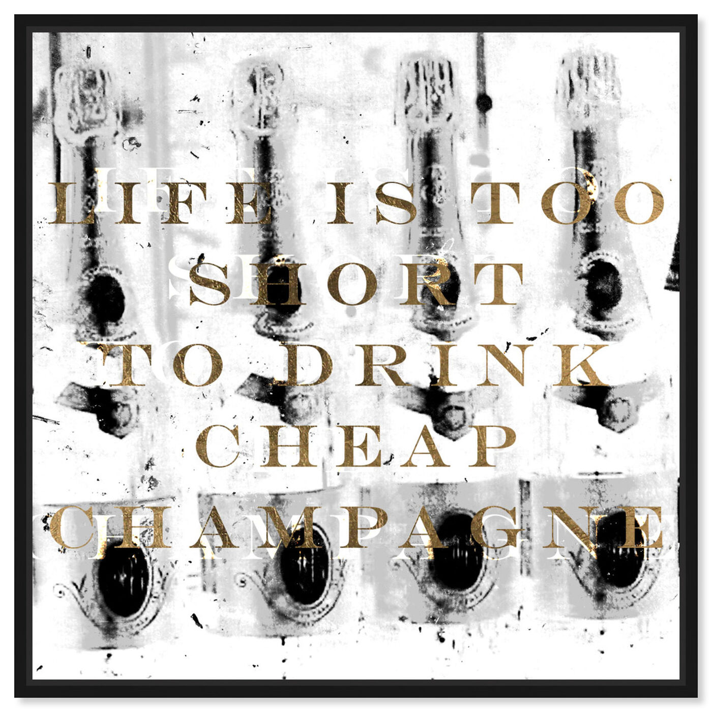Front view of No Cheap Champagne featuring typography and quotes and funny quotes and sayings art.