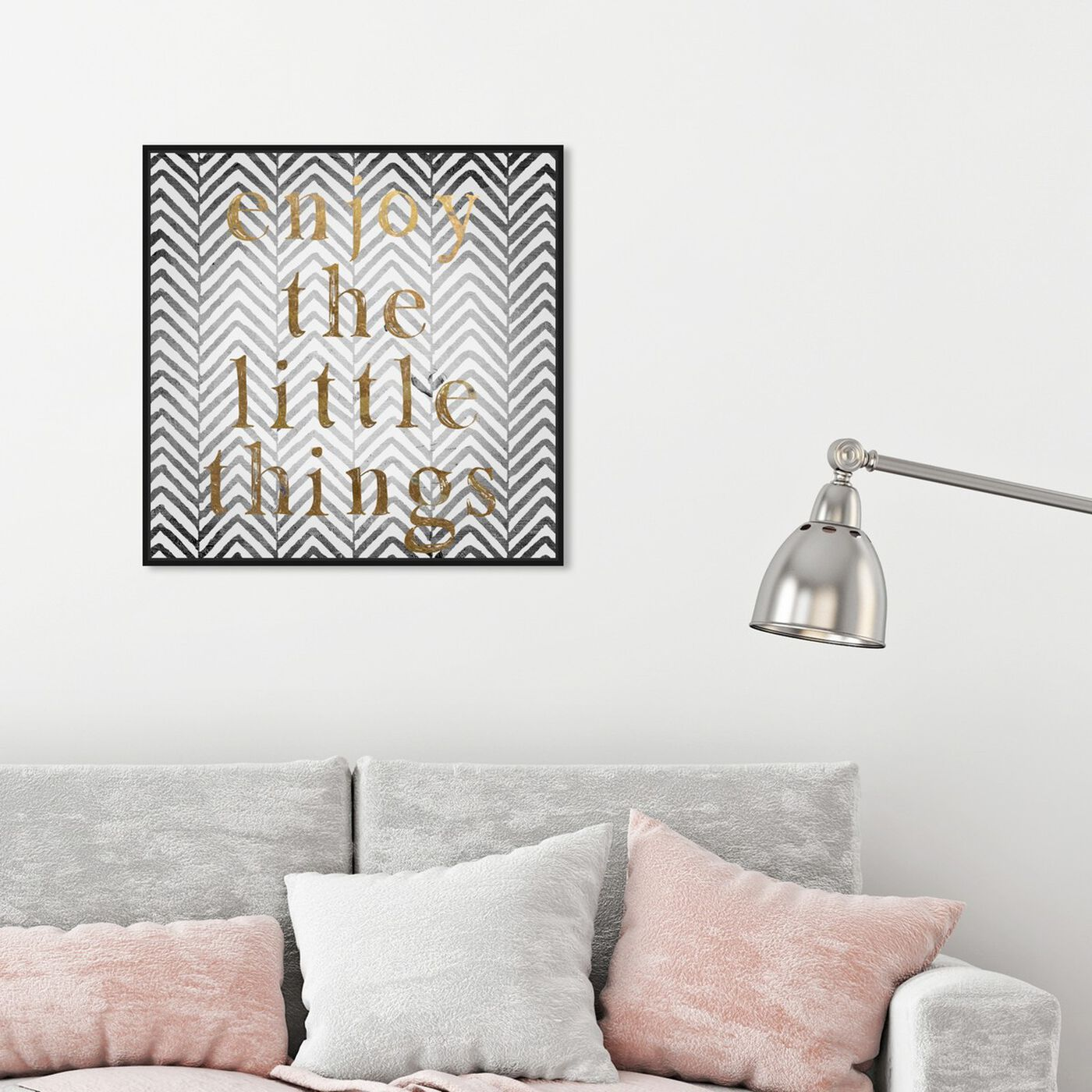 Hanging view of Enjoy The Little Things featuring typography and quotes and inspirational quotes and sayings art.