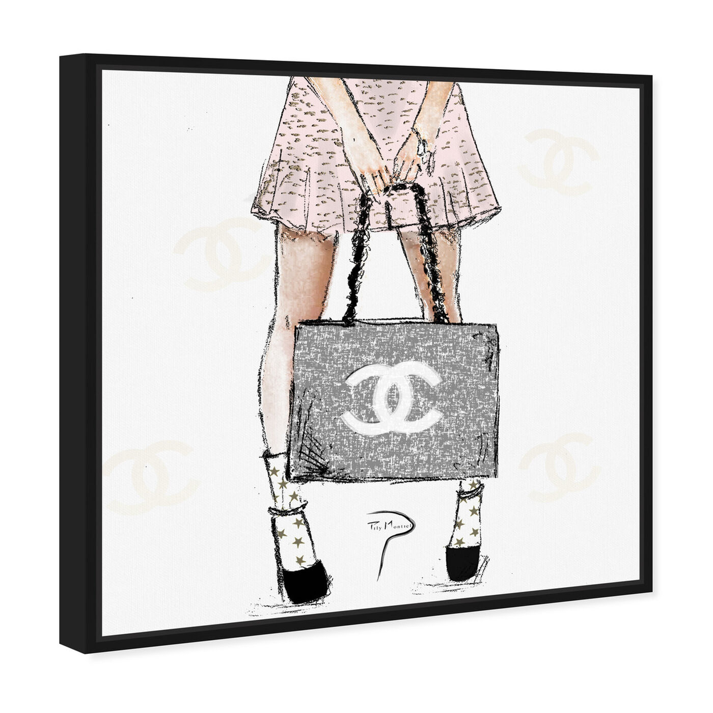Angled view of Pily Montiel - Tweed Girl Rose featuring fashion and glam and handbags art.