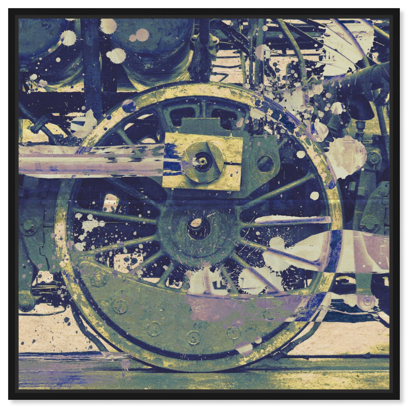 Front view of Wheel featuring transportation and trains art.