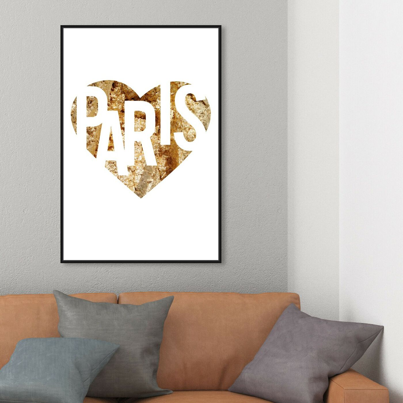 Hanging view of I Love Paris Gold featuring fashion and glam and hearts art.