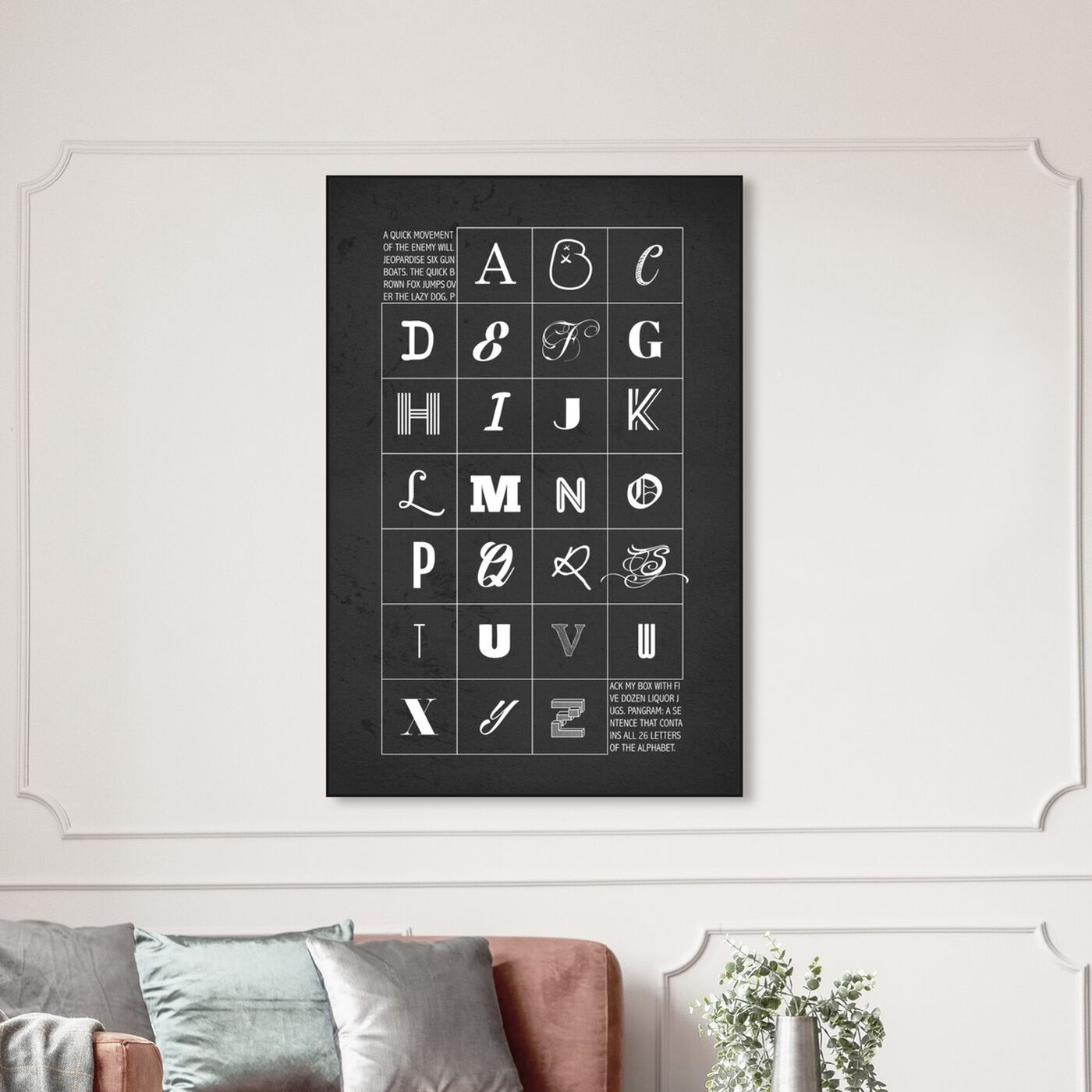 Hanging view of We Love Type featuring typography and quotes and letters and calligraphy art.