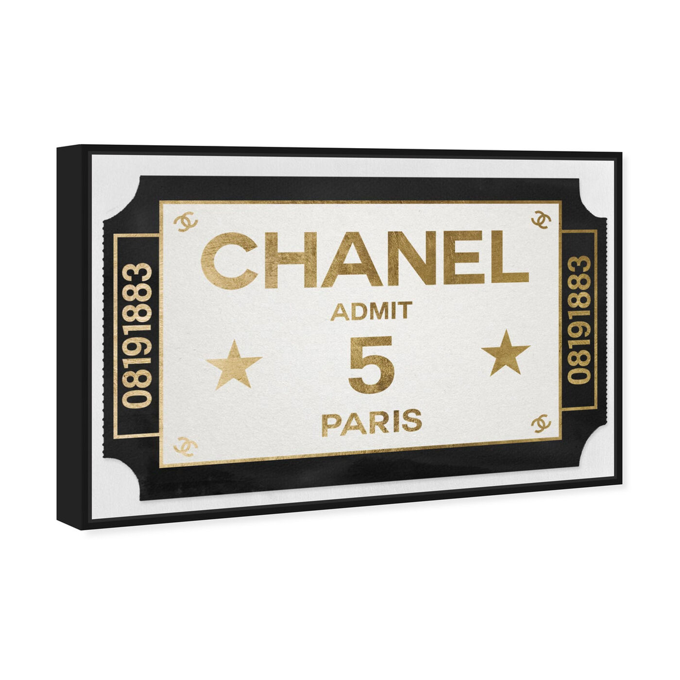 Angled view of Ticket Admit One Paris featuring fashion and glam and road signs art.