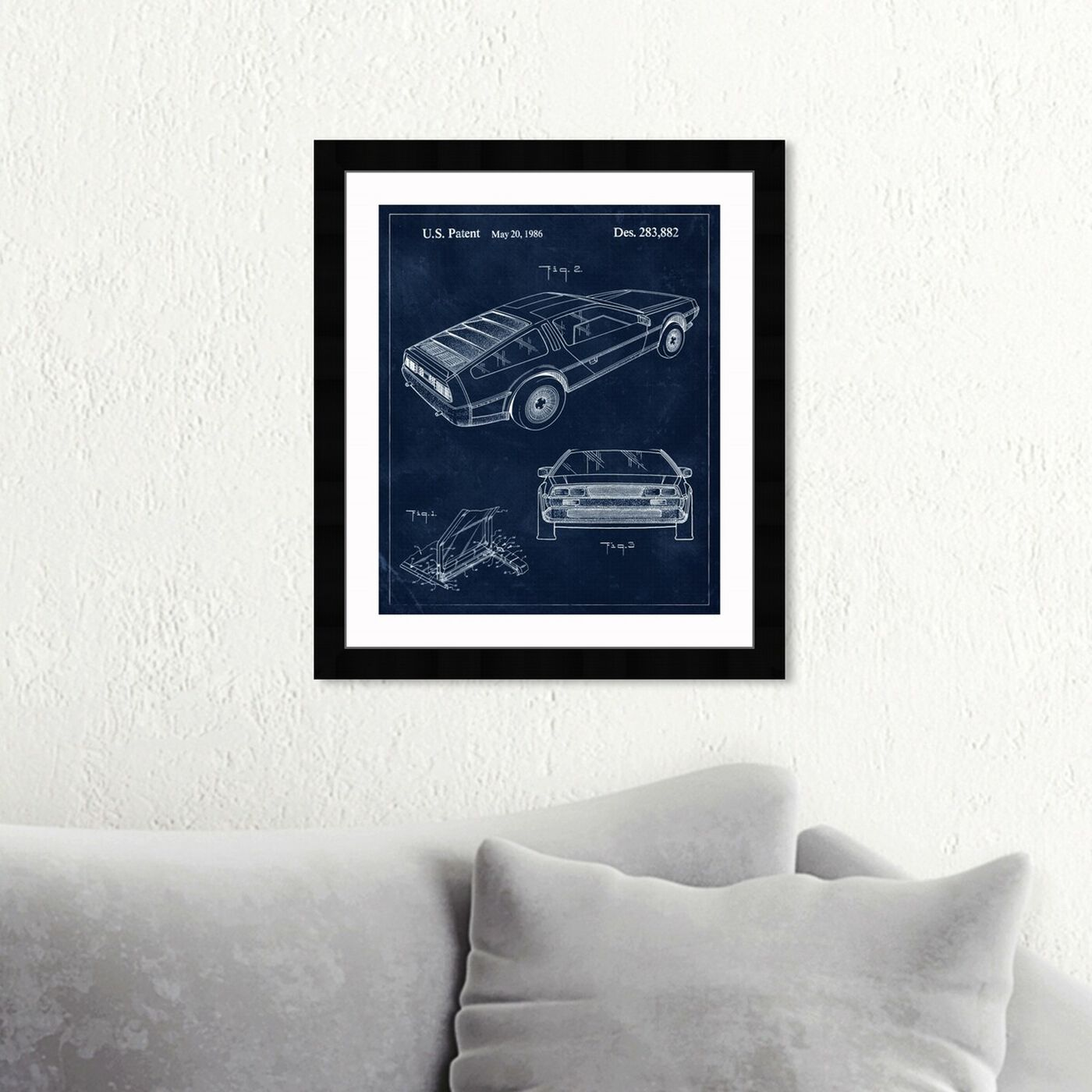 Hanging view of Delorean, 1986 II featuring transportation and automobiles art.