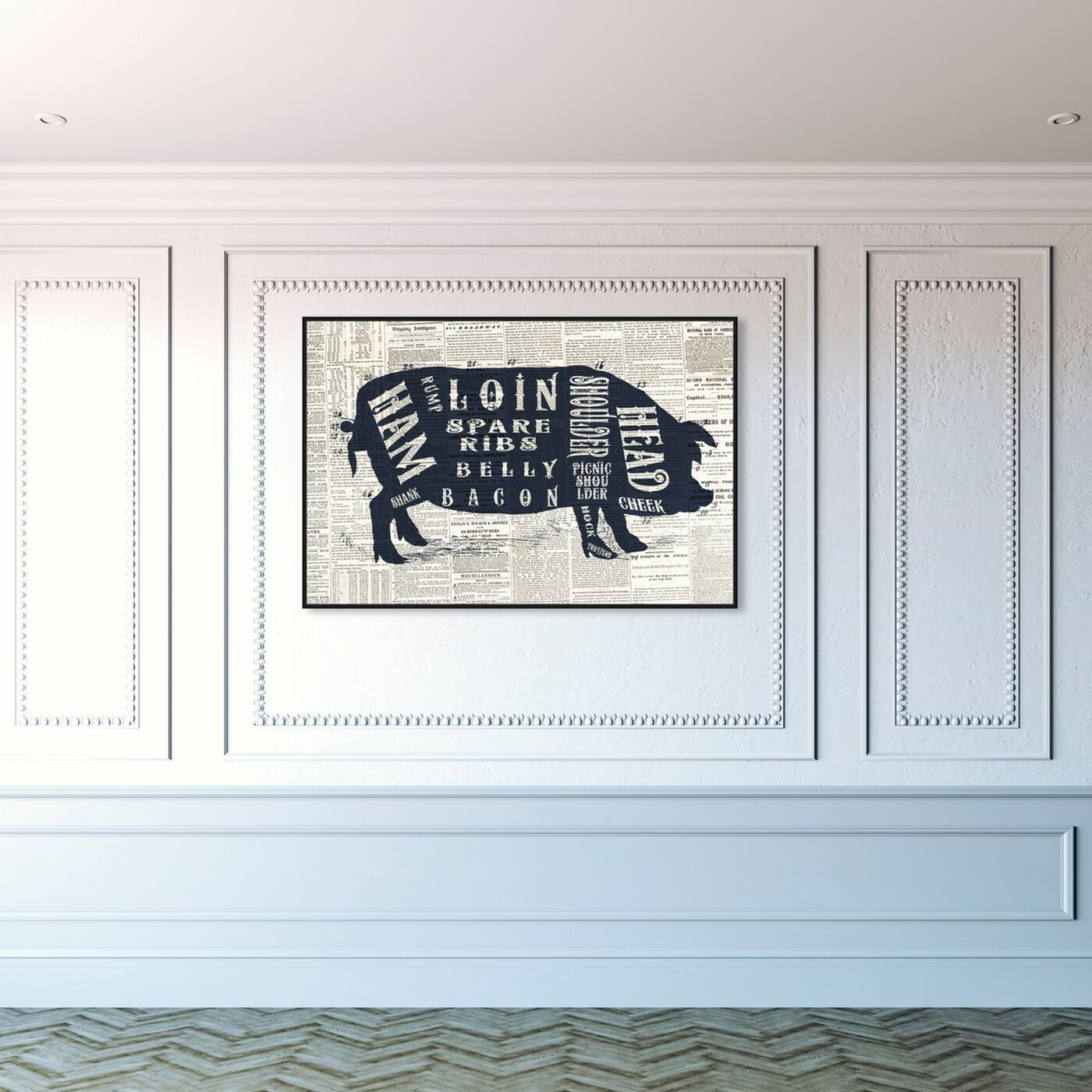 Hanging view of Pork Butcher Cuts Chart featuring animals and farm animals art.