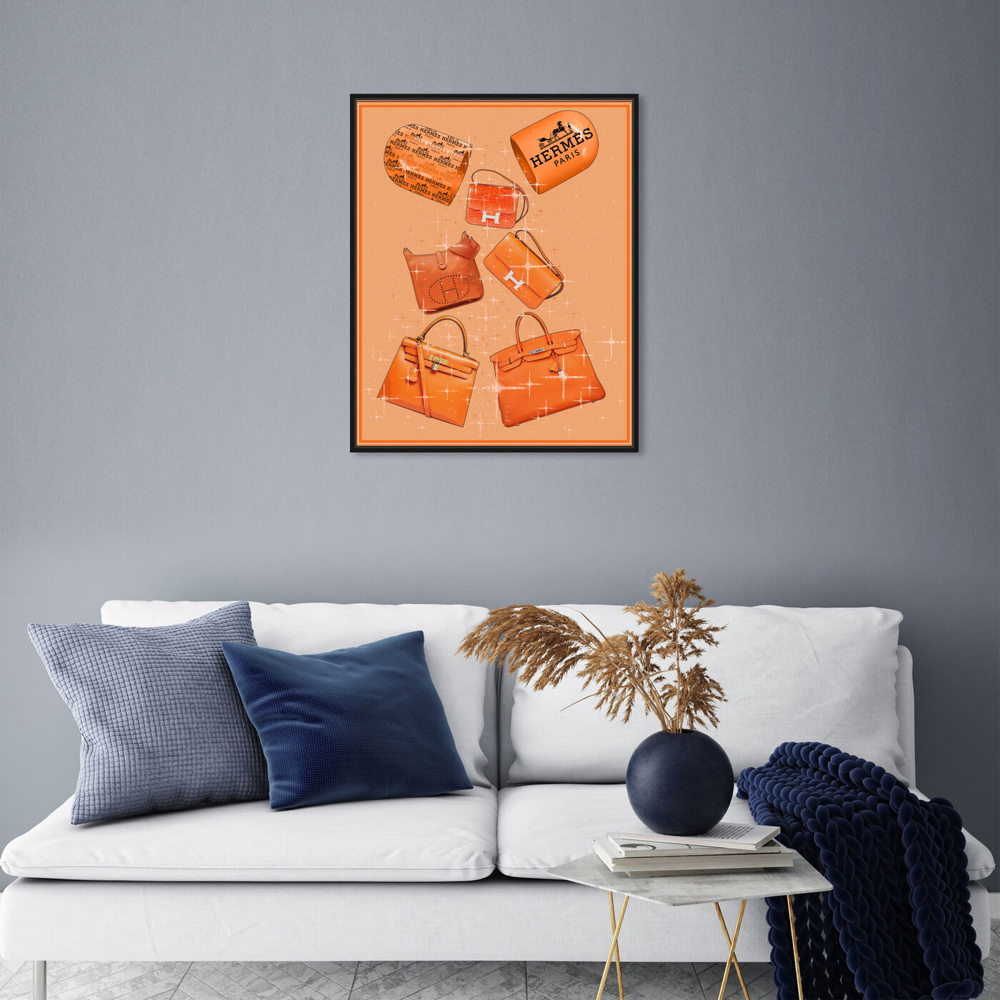 Hanging view of Handbags Orange Boost featuring fashion and glam and handbags art.