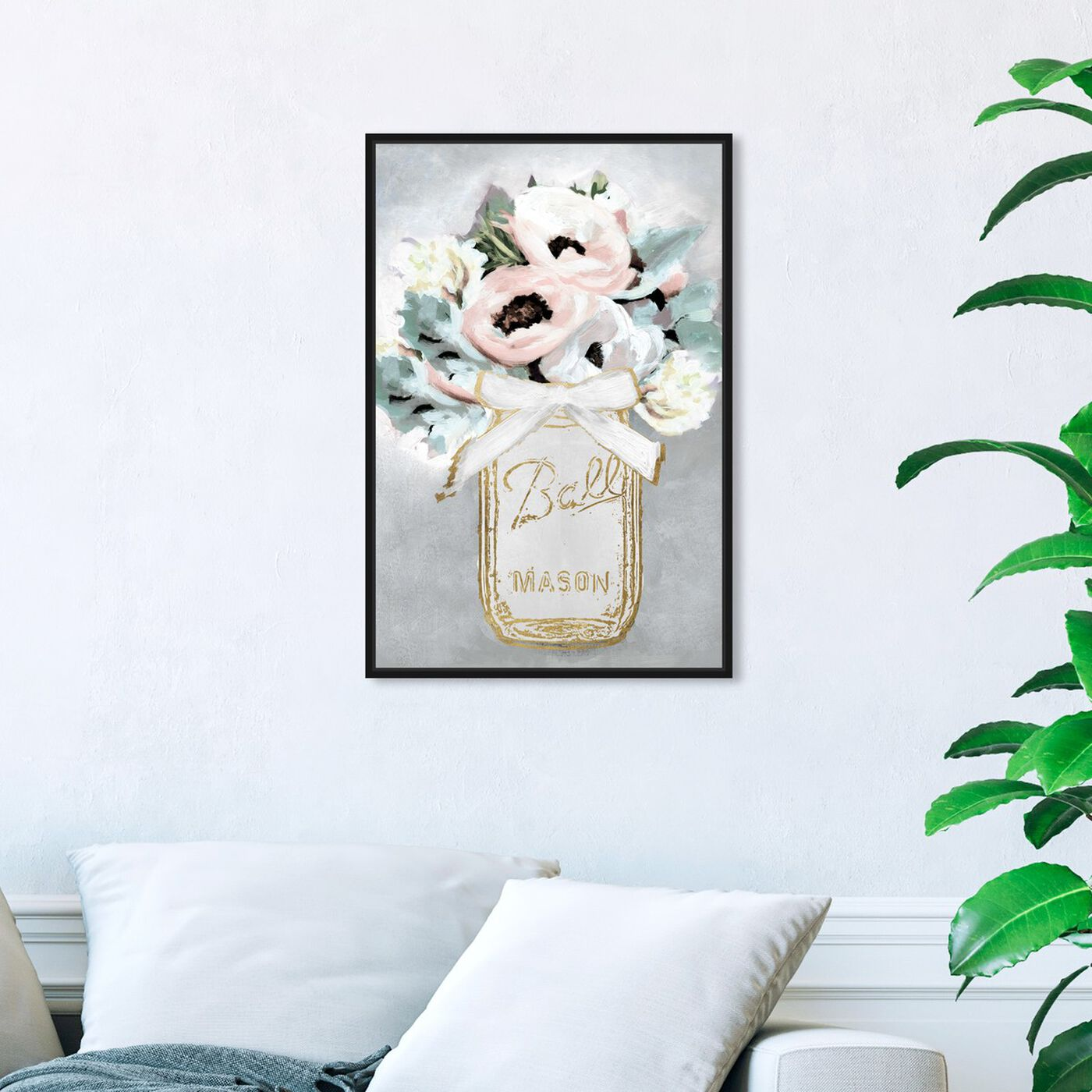 Hanging view of Mason Jar Mora featuring floral and botanical and florals art.