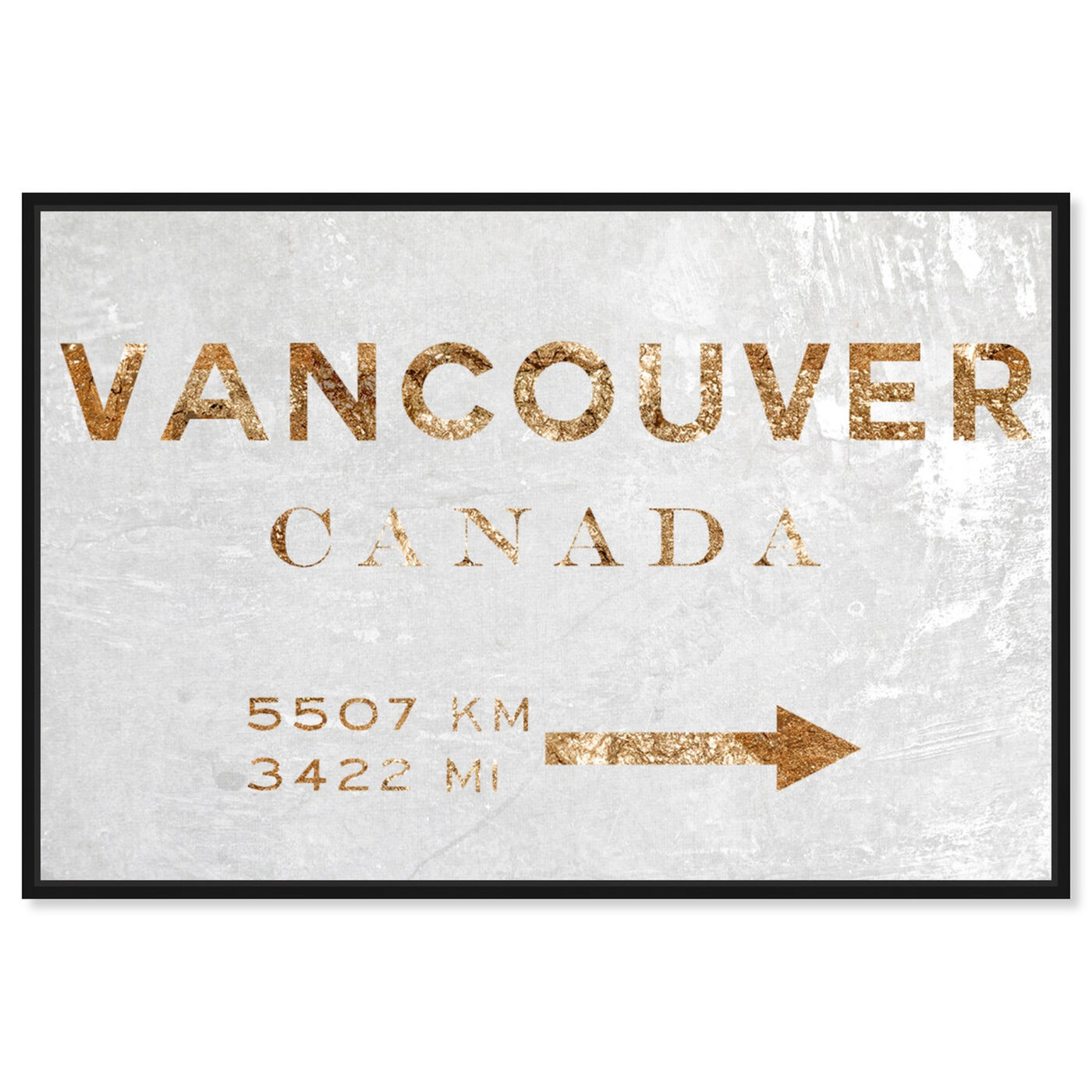 Front view of Vancouver Road Sign featuring cities and skylines and north american cities art.