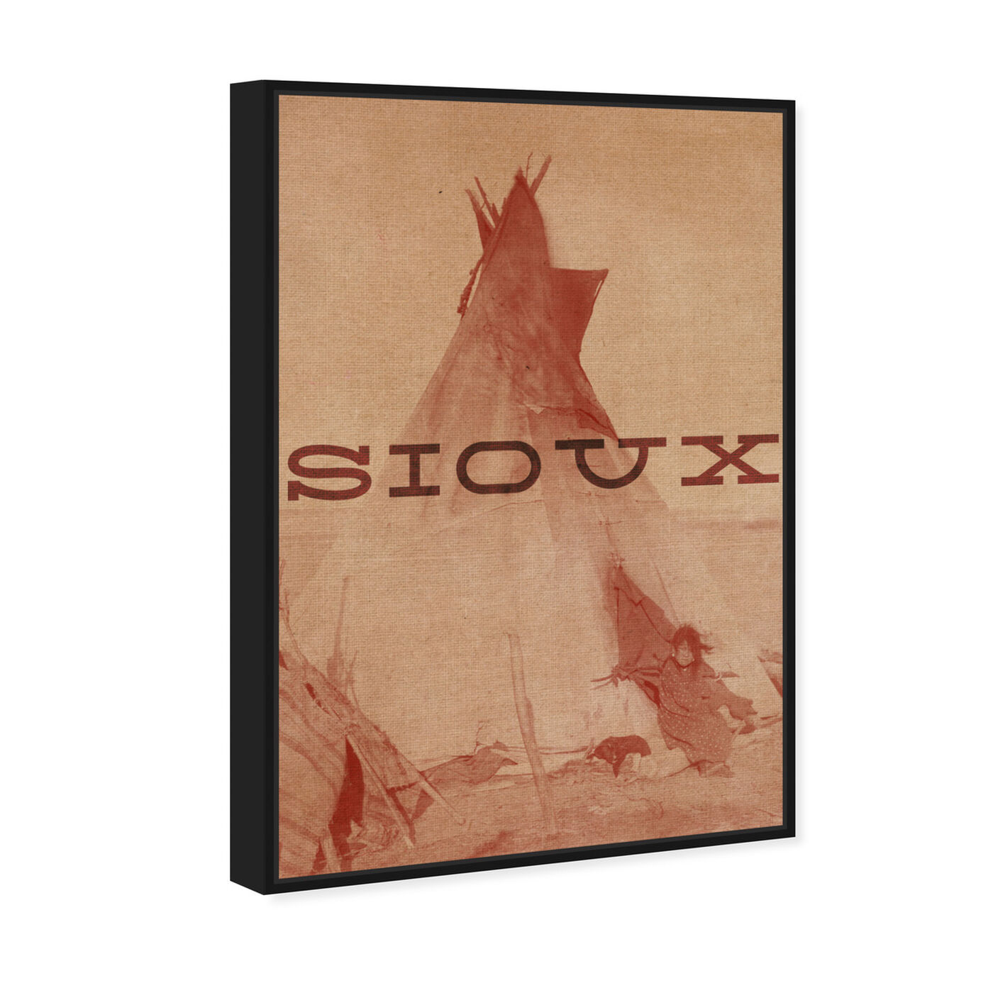 Angled view of Sioux featuring world and countries and american indigenous art.