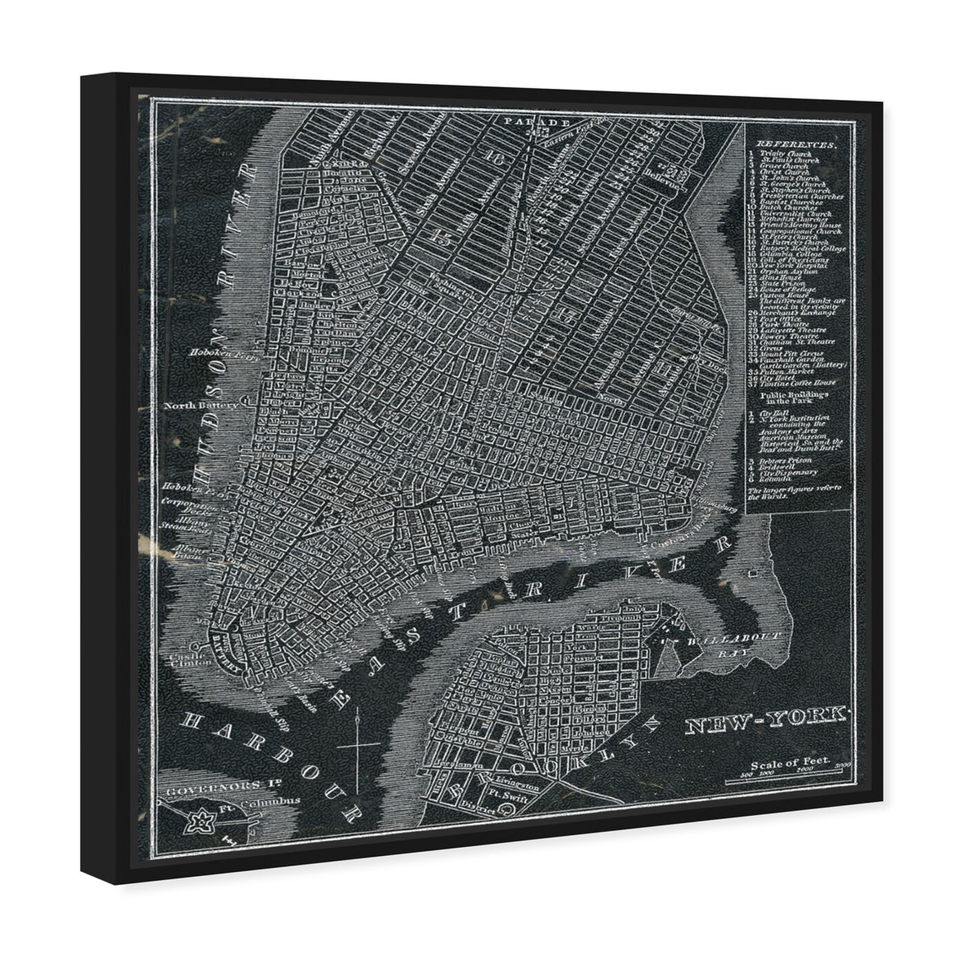 Angled view of New York Map 1846 featuring maps and flags and us cities maps art.