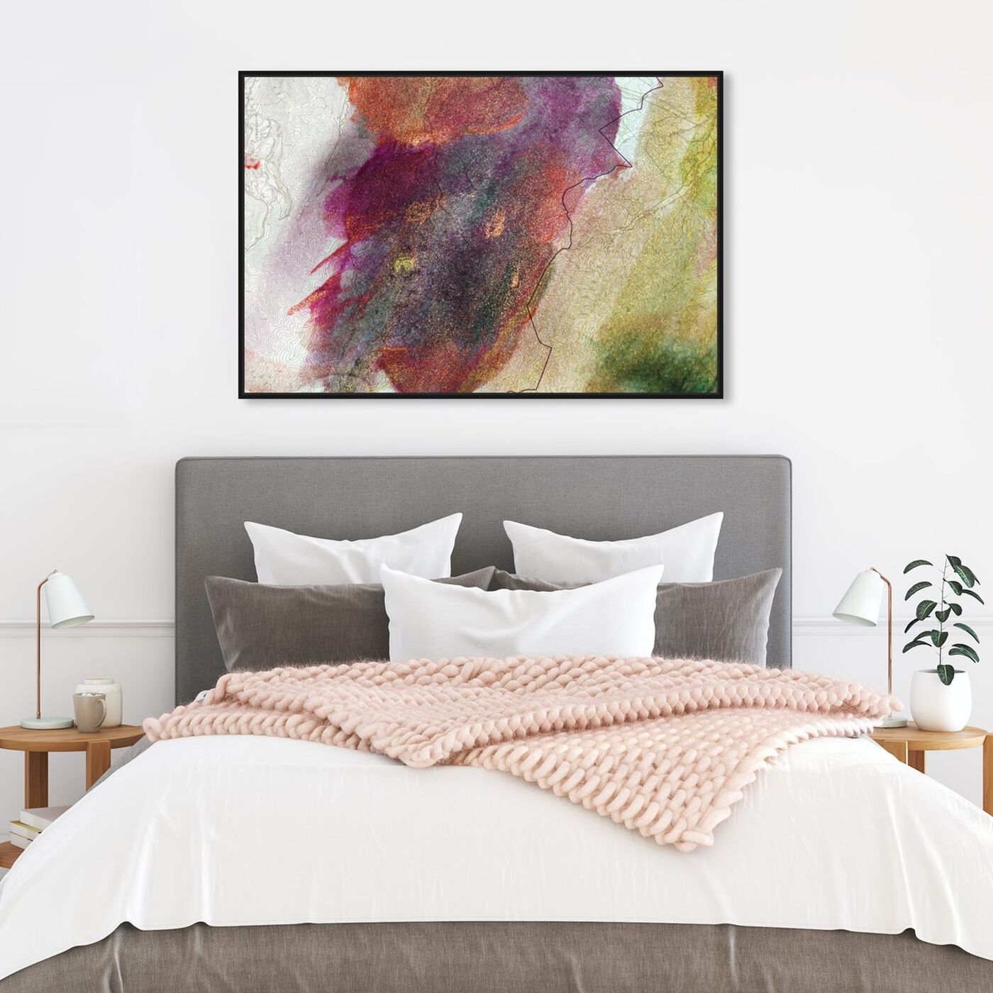 Hanging view of Mihara featuring abstract and paint art.