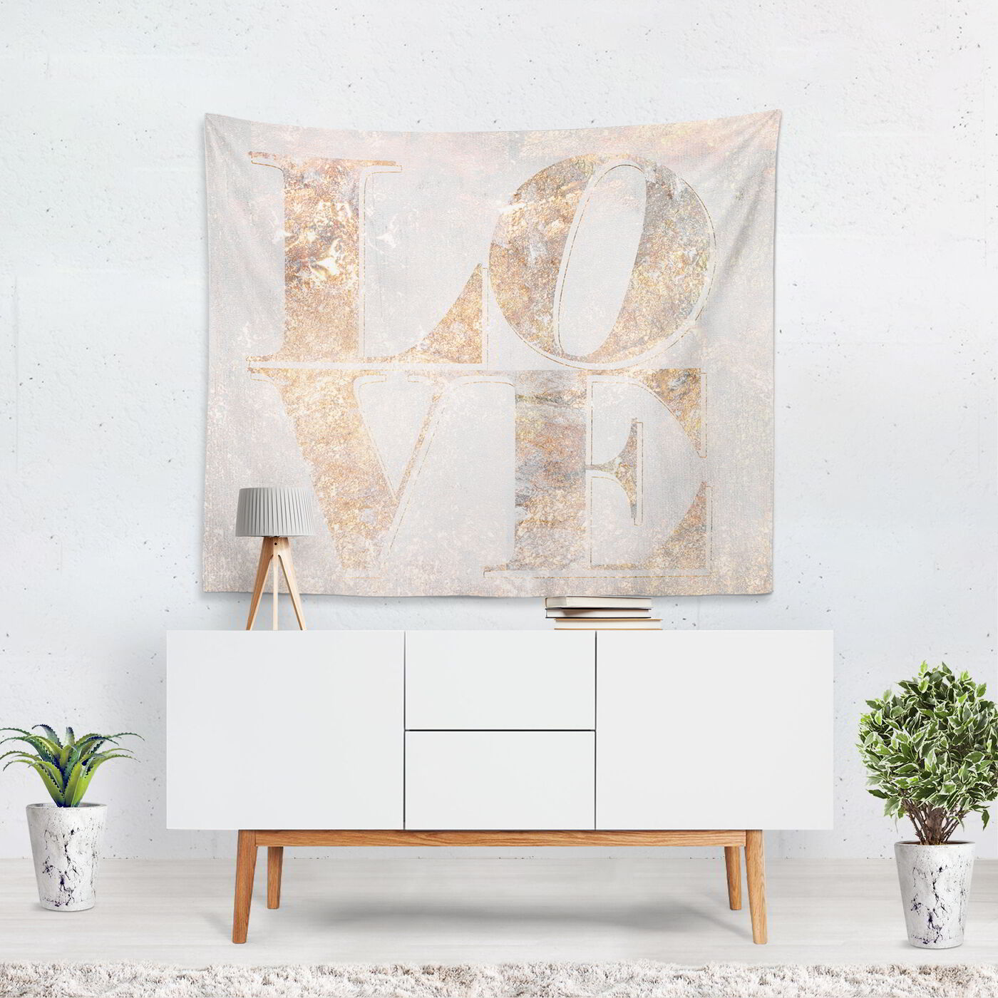 Build on Love Champagne Tapestry Art