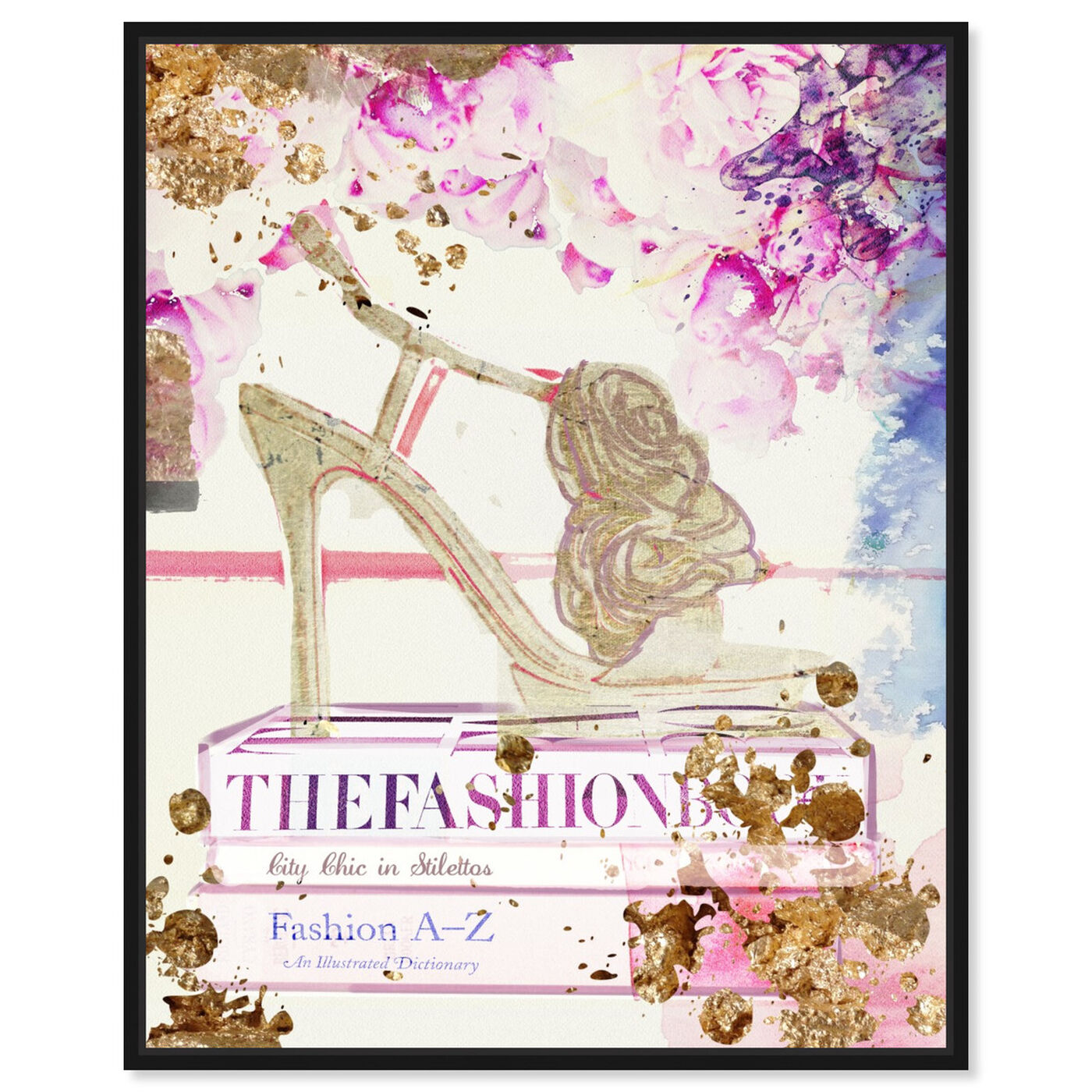 Front view of Gold Shoe featuring fashion and glam and shoes art.