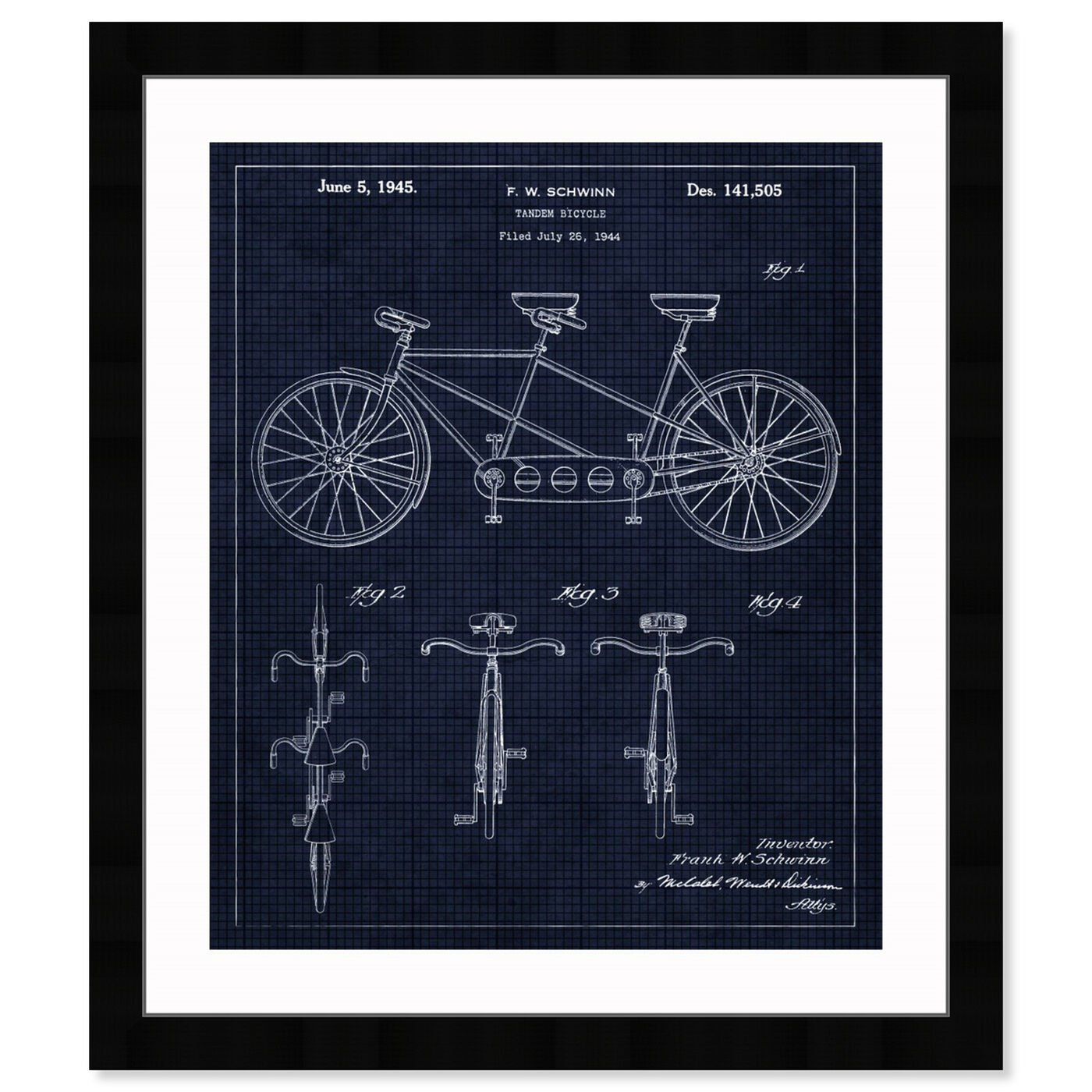 Front view of Tandem Bicycle 1945 featuring transportation and bicycles art.