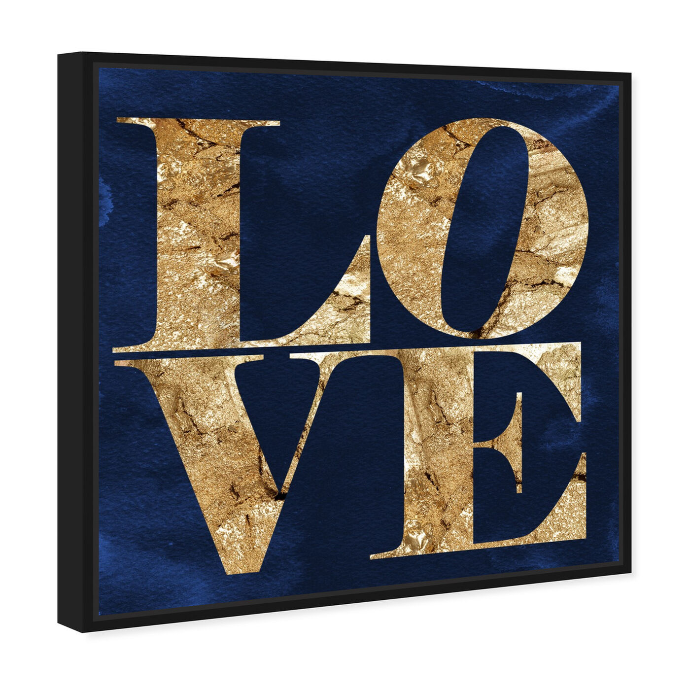 Angled view of Solid Gold Navy featuring typography and quotes and love quotes and sayings art.