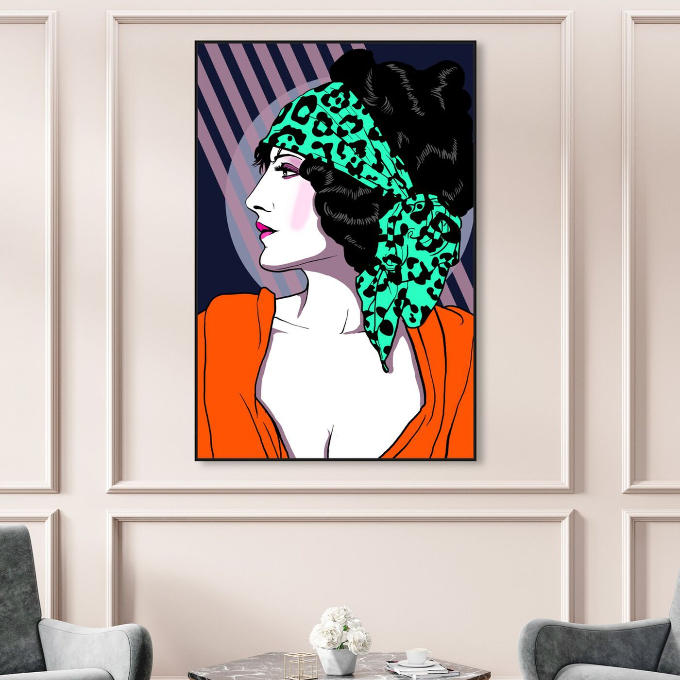 Hanging view of 80s Rocker Gal featuring fashion and glam and portraits art.