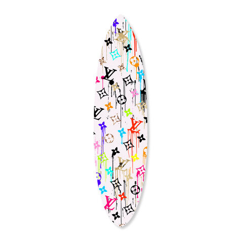 Vibrant Gold Glam Pattern Surfboard Flat