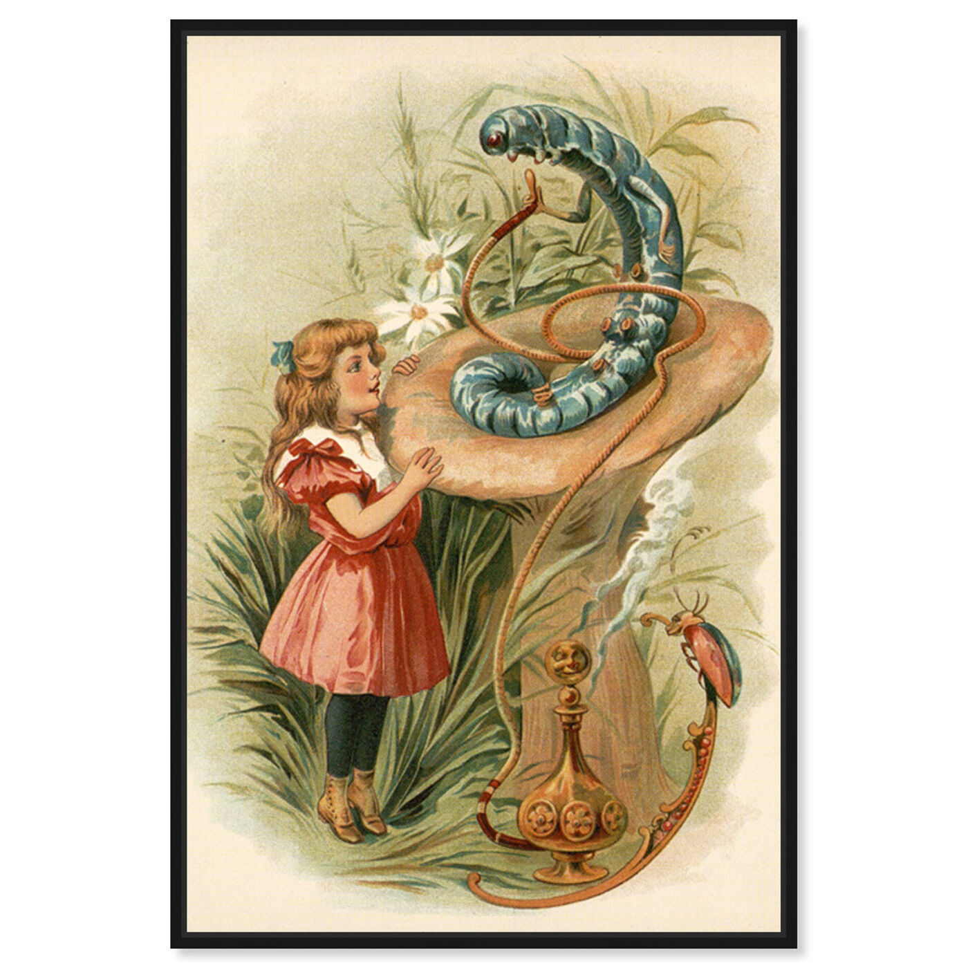 Front view of Alice and the Caterpillar 1898 featuring fantasy and sci-fi and fantasy art.