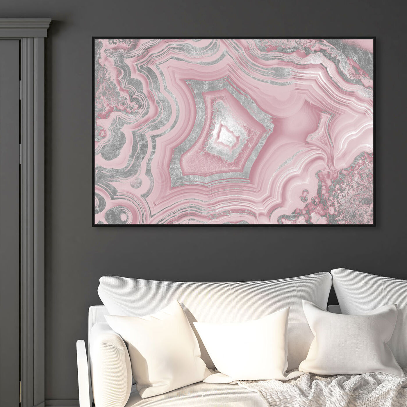 Hanging view of Dreaming About You Geode Blush featuring abstract and crystals art.