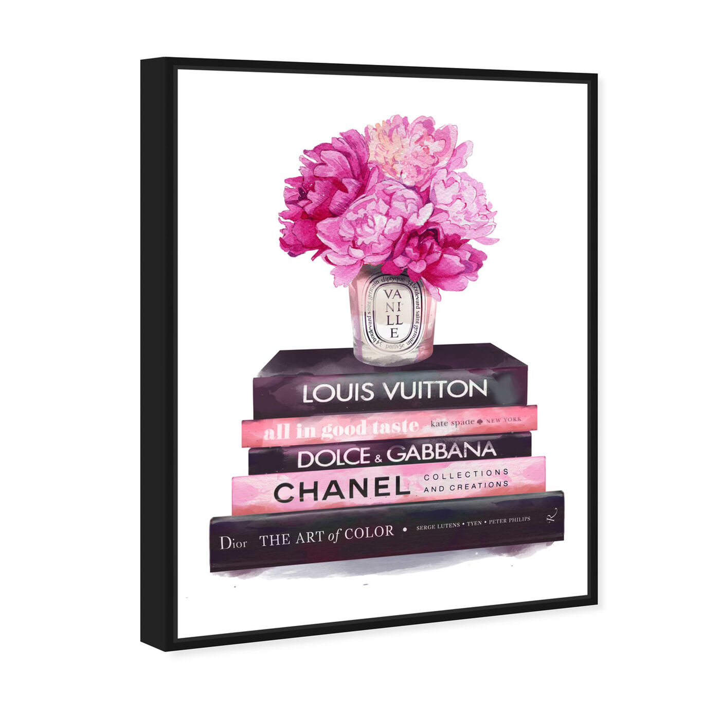 Angled view of Fashion Base Books featuring fashion and glam and books art.
