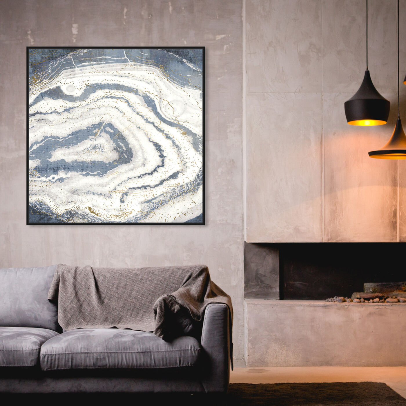 Hanging view of Midnight Agate featuring abstract and crystals art.