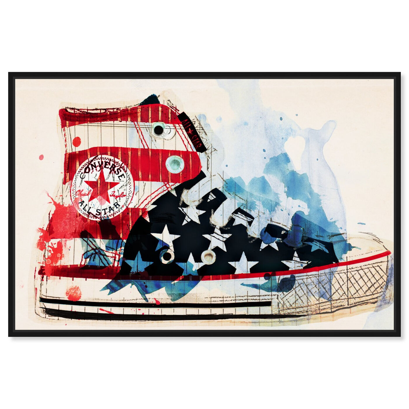 Front view of America's Sneaker featuring americana and patriotic and us flags art.